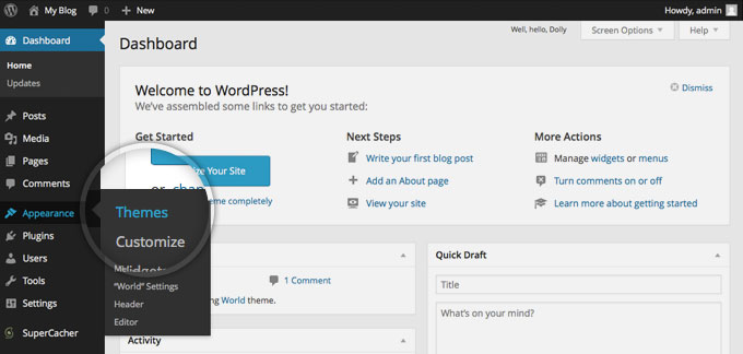 set themes in wordpress